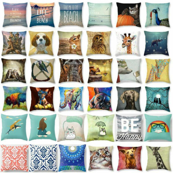 Cat Cute Dog Covers Cotton Linen Pillow Cases Throw Pillow Cover Sofa Cushion $3.15