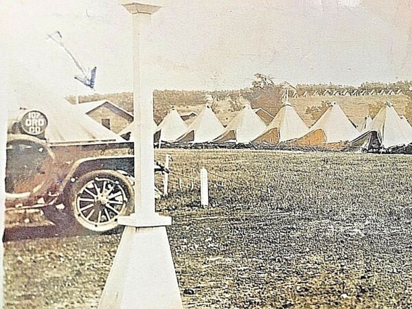 Postcard RPPC Military Tents at M.N.G. Camp Grayling. MI X4
