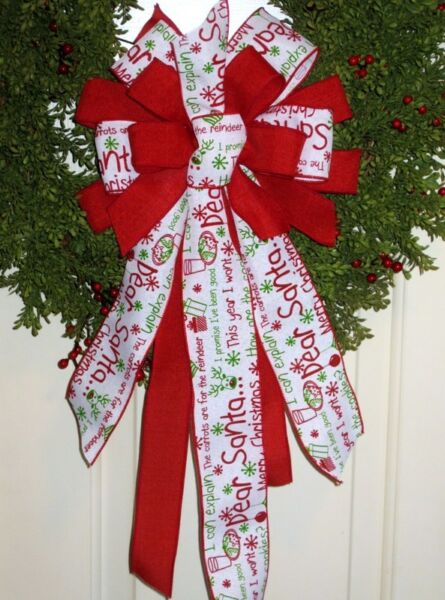 Christmas White DEAR SANTA BOW WIRED LINEN BURLAP RIBBON # 59 rb