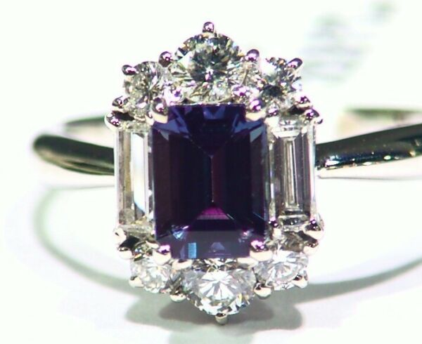 Vintage 1.90CT Platinum Natural Cut White Diamond Alexandrite Engagement Ring