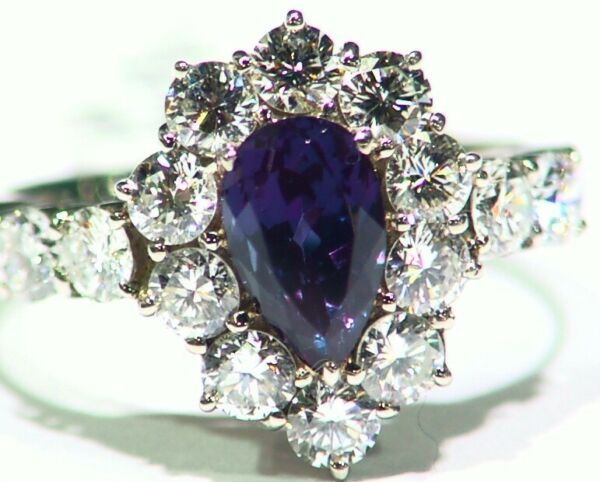 Vintage 2.88CT Platinum Natural Cut White Diamond Alexandrite Engagement Ring