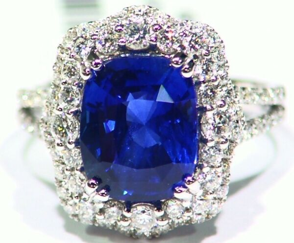 5.90CT 18K Gold Natural No Heat Sapphire Diamond Vintage Engagement Ring Deco