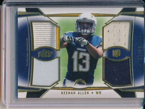 2013 TOPPS PRIME KEENAN ALLEN 2 COLOR ROOKIE RC GAME USED # D 53 75 $12.88