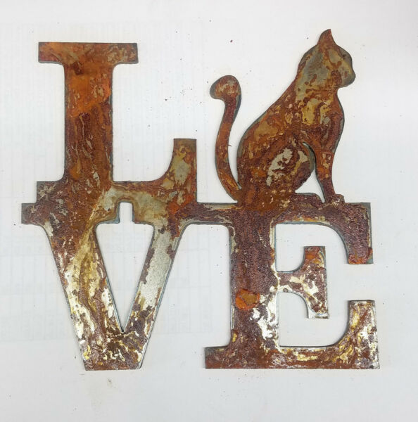 6quot; LOVE Square Sitting Cat for O Rusty Metal Wall Art Craft Stencil Sign DIY $8.00