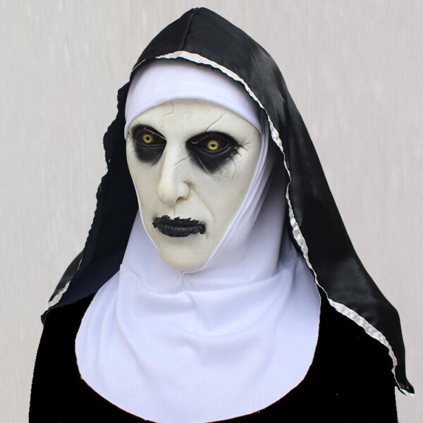 The Horror Scary Nun Latex Mask w Headscarf Valak Cosplay for Halloween Costume