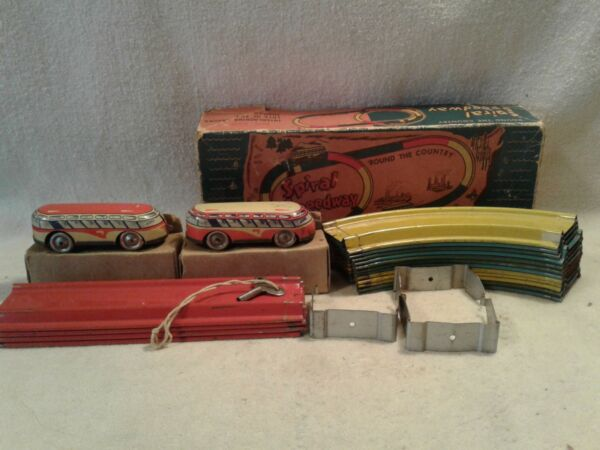 Automatic Toy Co #x27;Round The Country Spiral Speedway 1930#x27;s Wind Up Tin Toy #320 $145.00