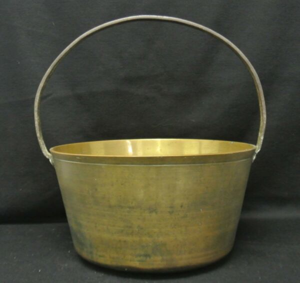 Antique Heavy 8.22 Lbs Brass Pail Bucket Kettle With Wrought Iron Handle
