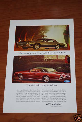 ★★1967 FORD THUNDERBIRD ORIGINAL VINTAGE ADVERTISEMENT AD 67 390 428★★