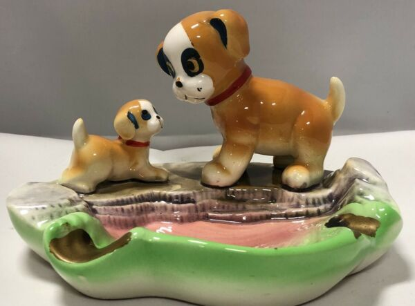 VINTAGE BOXER MOM AND BABY PUP DOG SHELL ASHTRAY SWEET HIGH GLOSS $40.00