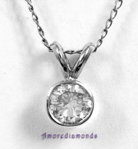 1 ct G VS2 premium cut round diamond bezel pendant 14k white gold 16