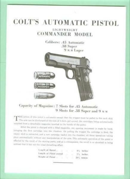 Colt Model Light Weight Commander 1911 Instruction Manual Reproduction