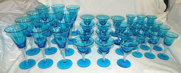 Blenko USA #800 12 Waters12 Sherbets 12 Wines Spiral Stem Turquoise Circa 1956