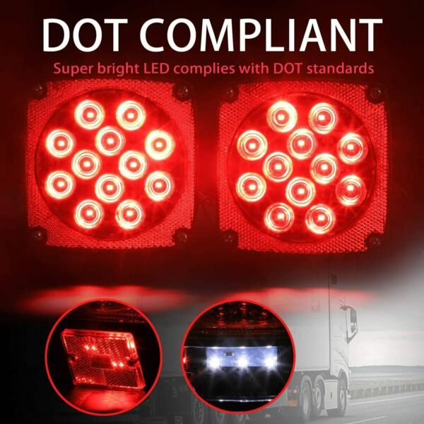Pair Rear Led Submersible Trailer Tail Lights Boat Marker Truck Round Waterproof $18.99