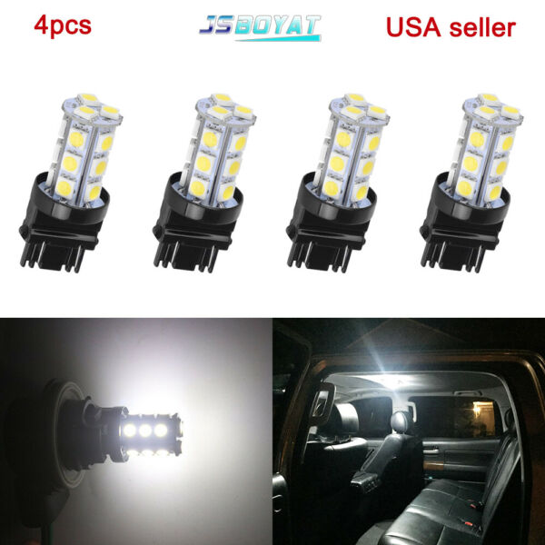 4x6000K HID White 18SMD LED Daytime Running Light Bulbs 3156 3157 3757 4114 4157