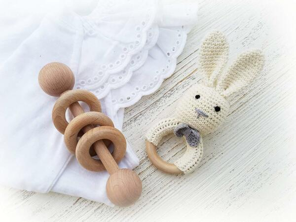 Natural Wooden Baby Toys Cotton Crochet Bunny Teething Ring Teether 6Cm 4Cm Avg