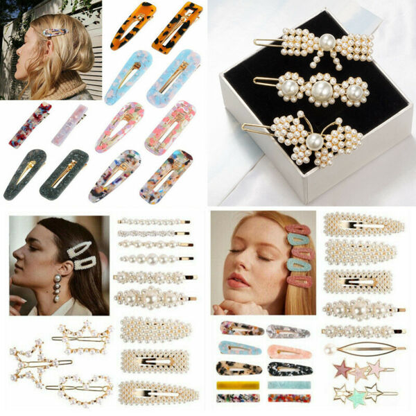 Fashion Women Pearl Acrylic Barrette Hair Clip Stick Hairpin Hair Accessories