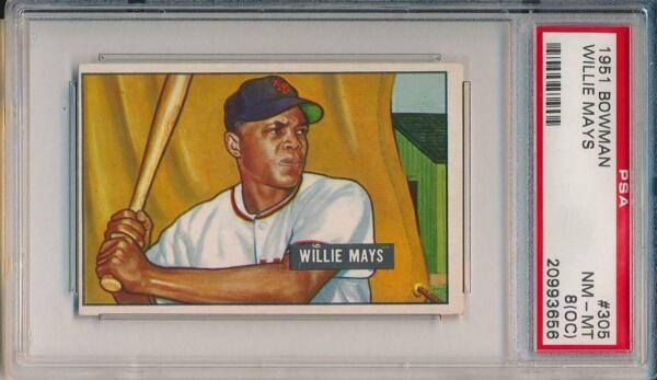 Willie Mays 1951 Bowman Rookie Card # 305 rc PSA 8 Q Look at front and Back !