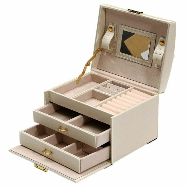 Jewelry Packaging Display Large Box Armoire Chest Bracelet Ring Organiser NEW