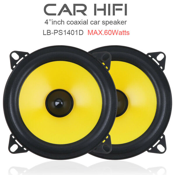 4 inch 60W 2-Way Full Frequency Car Audio Stereo Speaker Yellow PAIR Loudspeaker