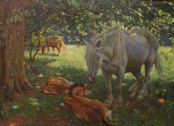 Large 1907 English Mare & Foals Horses Beneath A Chestnut Tree Charles BROCK