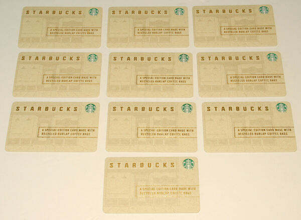STARBUCKS 2015 Recycled Paper Burlap Bags GIFT CARDS *NO VALUE *SET of 10