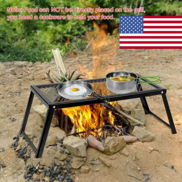 USA Camp Fire Grill Grate Cooking Outdoor BBQ Steel Pit Camping Open Fire D3J9