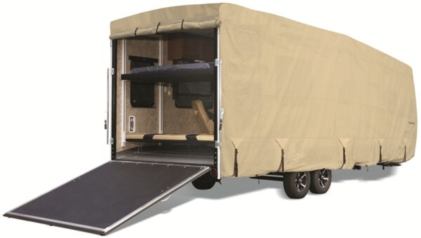 Goldline Premium RV Trailer Toy Hauler Cover Fits 44 to 46 Foot Tan