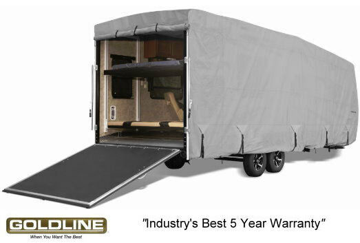 Goldline Premium RV Trailer Toy Hauler Cover Fits 42 to 44 Foot Grey