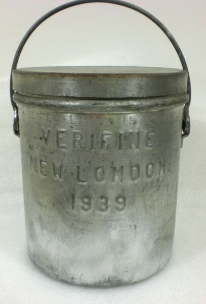 10 Quart Steel Metal Ice Cream Pail Bucket Dairy 1939 VERIFINE NEW LONDON WI
