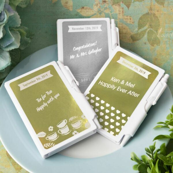 40-200 Personalized Metallic White Notebook - Wedding Shower Party Favors