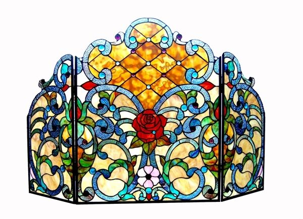 Fireplace Screen 3 Section Stained Glass 44quot; Long x 28quot; High Tiffany Style