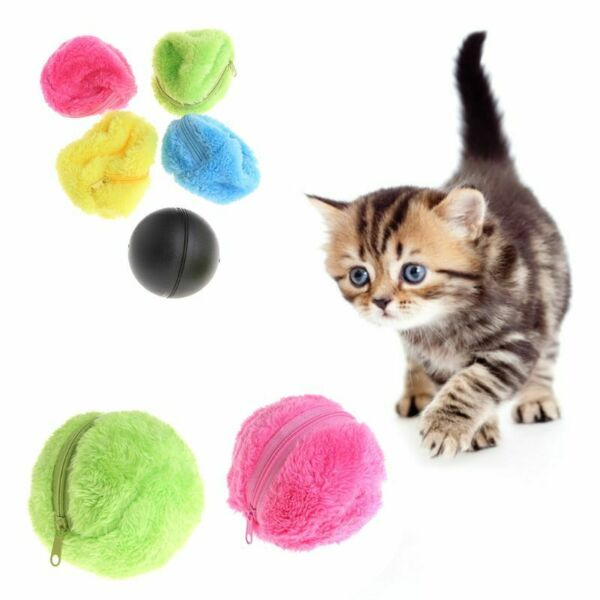 Pets Toy Plush Ball Electric Automatic Clean Floor Dog Puppy Cat Activation Chew
