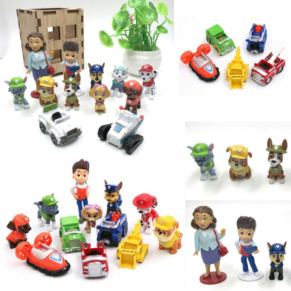 Paw Patrol Ryber Pups Vehicles Cute Figure Cake Topper Kids Gift Doll Toy Set $11.99