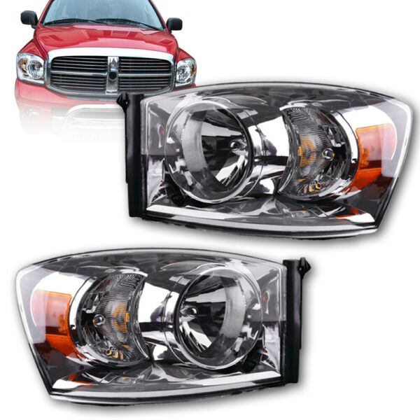 For 2006-2008 Dodge Ram 1500 2500 3500 Pair Clear Headlights Lamps Left+Right