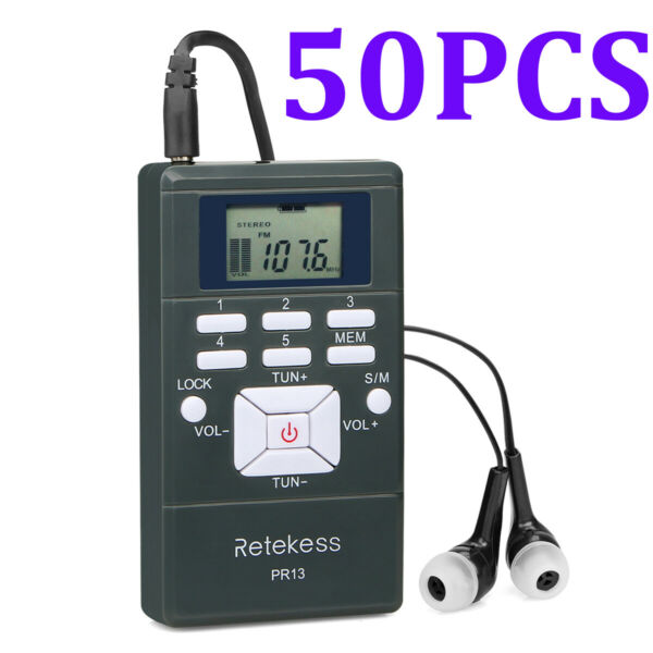 50X Portable Mini FM Radio Receiver Stereo Digital Clock for Tour Guide System