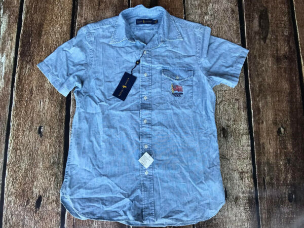 Polo Ralph Lauren Chambray USA Flag Short Sleeve Shirt Mens Large New
