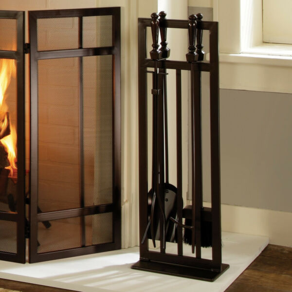 Wenge Steel Mission Style 5-Pcs Fireplace ToolSet W Heavy-Duty Stand Home Decor
