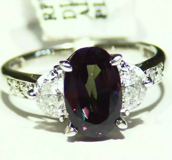GIA Certified 3.62CT Platinum Natural Brazilian Alexandrite Diamond Vintage Ring
