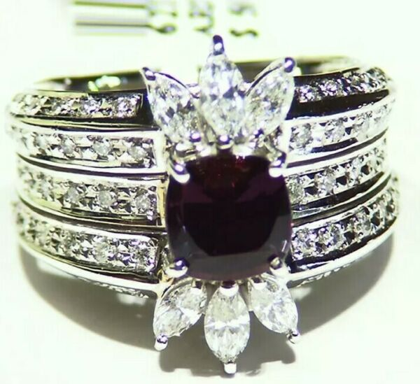 GIA Certified 2.31CT Platinum Natural Brazilian Alexandrite Diamond Vintage Ring