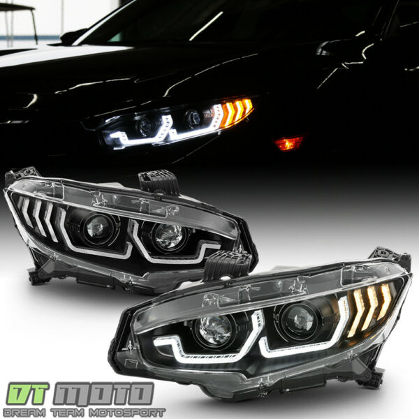 For 2016 2020 Honda Civic Black LED Tube Sequential Signal Projector Headlights $324.99