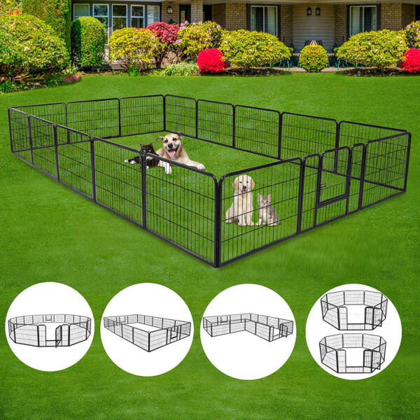 Heavy Duty Metal Cage Crate Pet Dog Cat Fence Exercise Playpen Kennels 16 Panels