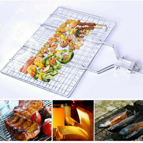BBQ Grill Basket Foldable Fish Vegetable Stainless Steel Camping Barbecue Tool