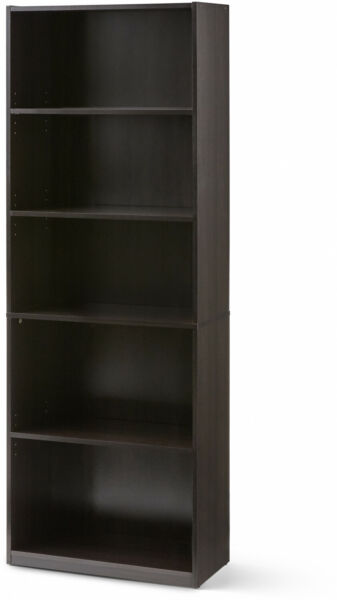 71 Inch Tall 5-Shelf BookcaseAdjustable Closed Back  White Black or Wood Finish