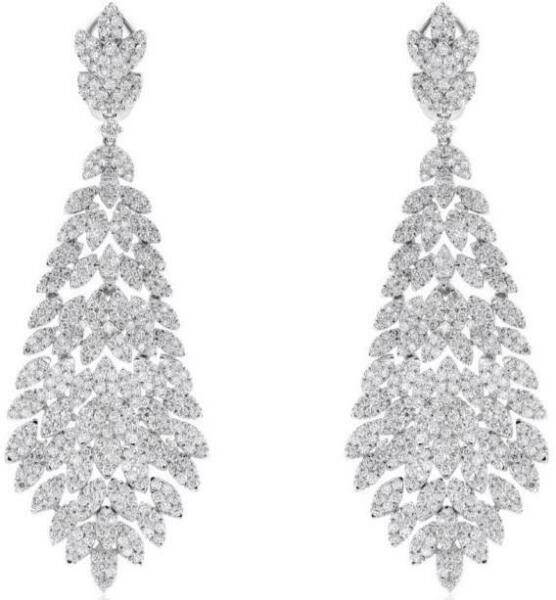 LARGE 7.39CT DIAMOND 18KT WHITE GOLD 3D CLUSTER FLOWER LEAF HANGING EARRINGS