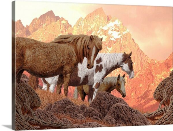 Wild Horses In The High Country Canvas Wall Art Print Horse Home Decor