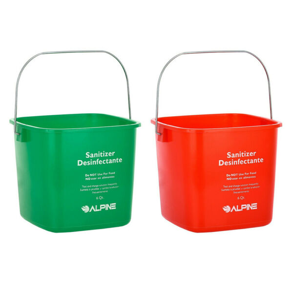 Alpine Industries 6 Quart Plastic Cleaning Pail Water Mop Bucket with Handle