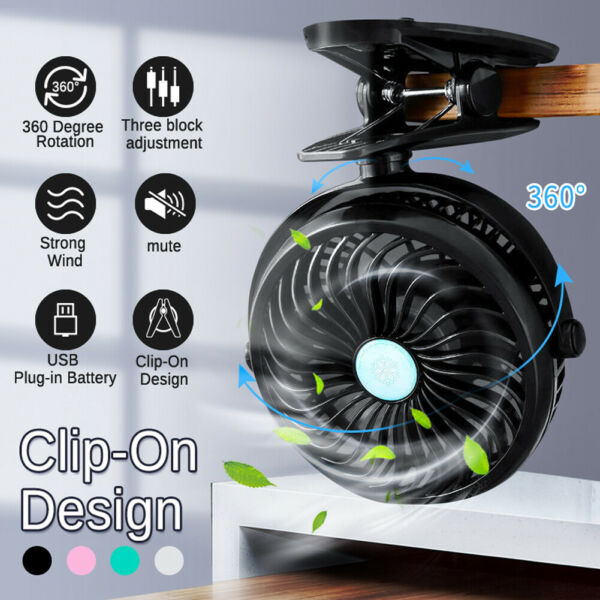 Portable USB Rechargeable Cooling Mini Fan Clip On Desk Baby Stroller 3 Speeds