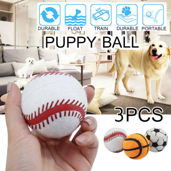 3Pcs Puppy Pet Cat Dog Tennis Ball Toy Roller Play Fetch Training Game Launcher