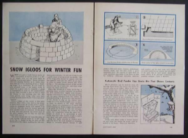 How-To Build a IGLOO 1946 PLANS Snow Shelter House Fort 12' inside diameter