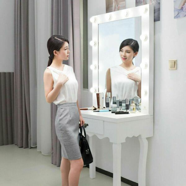 White Vanity Set with Lighted Mirror & Stool Drawer Women Makeup Dressing Table $142.99